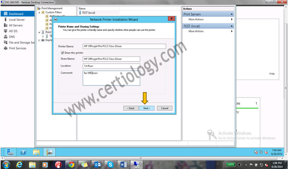 Printer Modelandclick on Next to install the driver