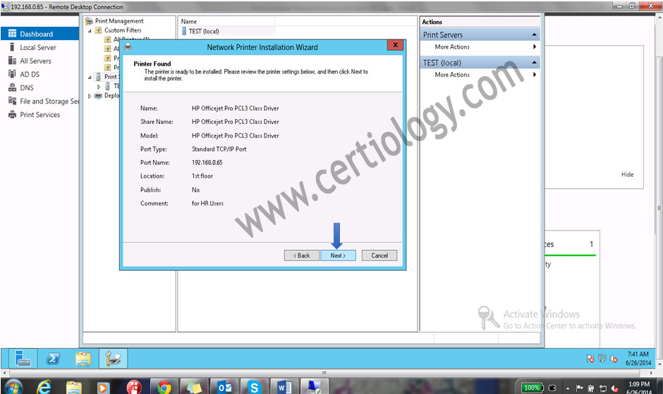 Click on Next to confirm the details of Printers.