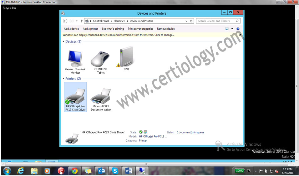 Installed printer in DeviceandPrinter given in Control Panel.