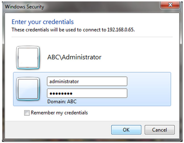 username and password (ABC\administrator)