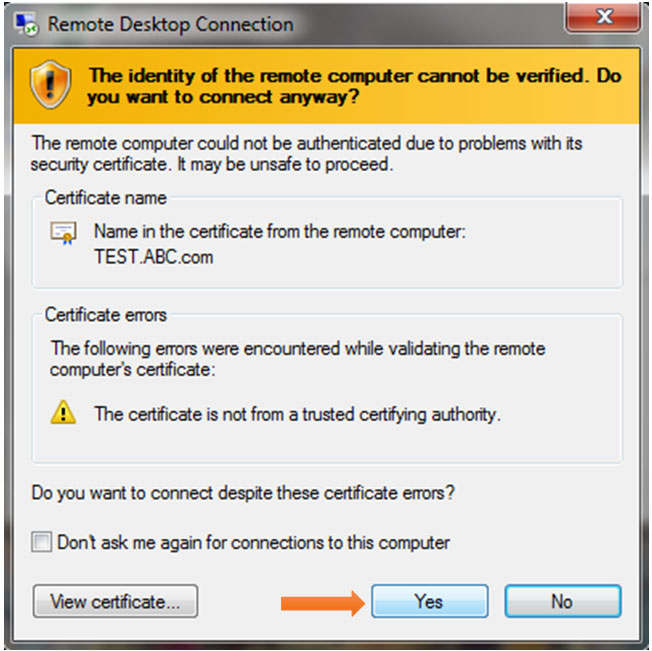 certificate verification window