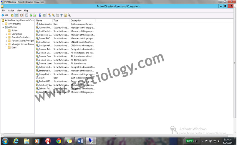 Users folder in the active directory