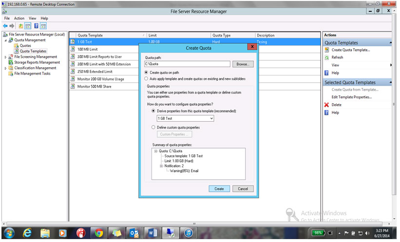 Create to create the quota on the folder