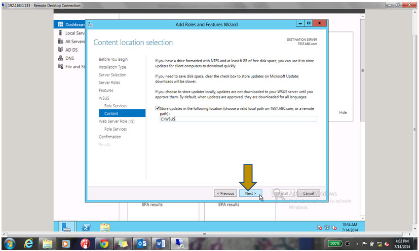 created folder path in the WSUS