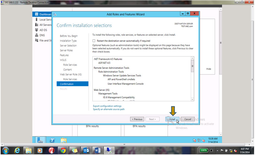 Install to start the installation for WSUS Role