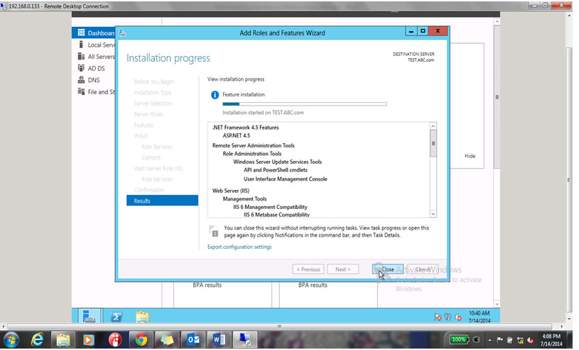 installation for WSUS