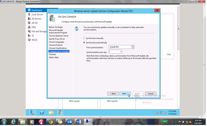 Synchronize Automatically and click on Next