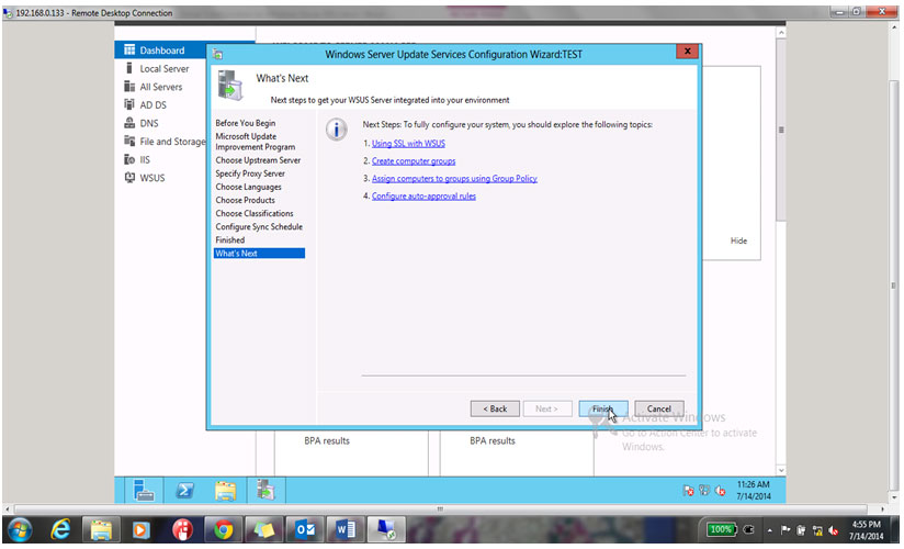 Click on finish to complete the configuration Setup.