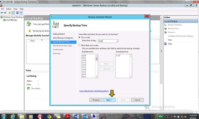 select the time