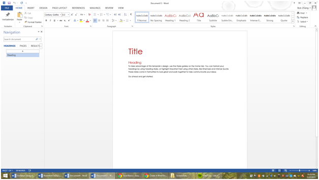 Creating a new document and templates